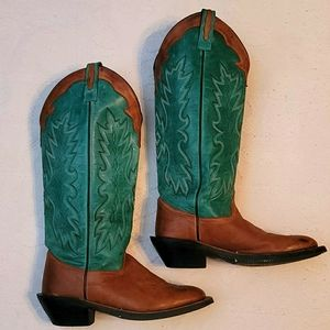 Old West leather western boots brown green 6.5